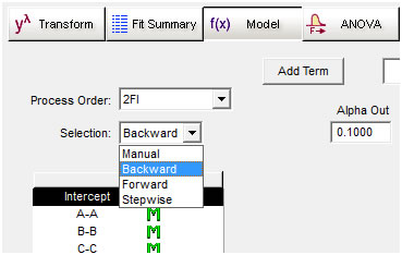 Backward Selection for Model Reduction